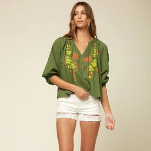 O'Neill Aven Embroidered Peasant Top